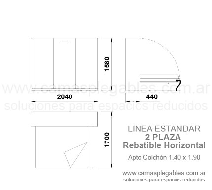 mueble cama rebatible horizontal 2 plazas simple