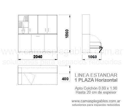 Medidas muebles con camas rebatibles - Medidas camas abatibles ...
