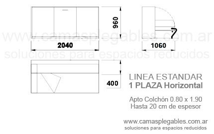 mueble cama rebatible horizontal 1 plaza simple