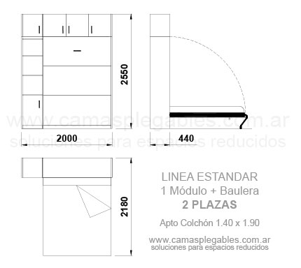 PLACARD CAMA 2 PLAZAS REBATIBLE SIMPLE con módulo lateral