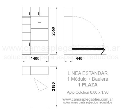 PLACARD CAMA 1 PLAZAS REBATIBLE SIMPLE con módulo lateral