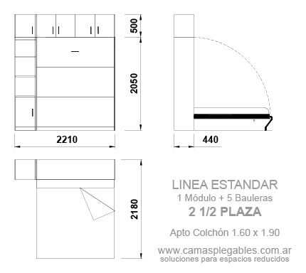 PLACARD CAMA 2 1/2 PLAZAS REBATIBLE SIMPLE con módulo lateral